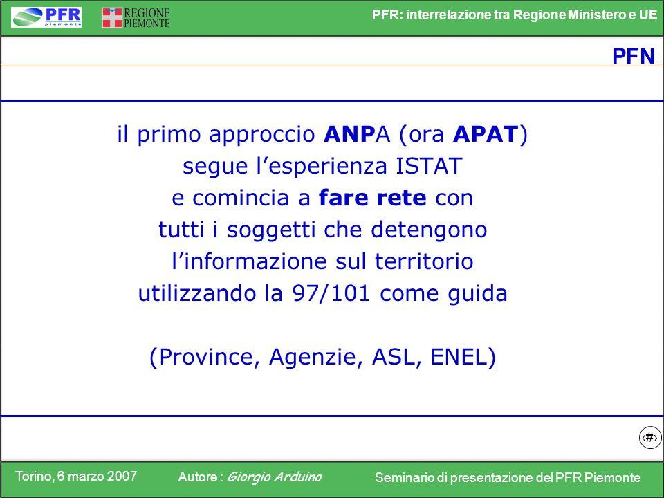 il primo approccio ANPA (ora APAT) segue l'esperienza ISTAT