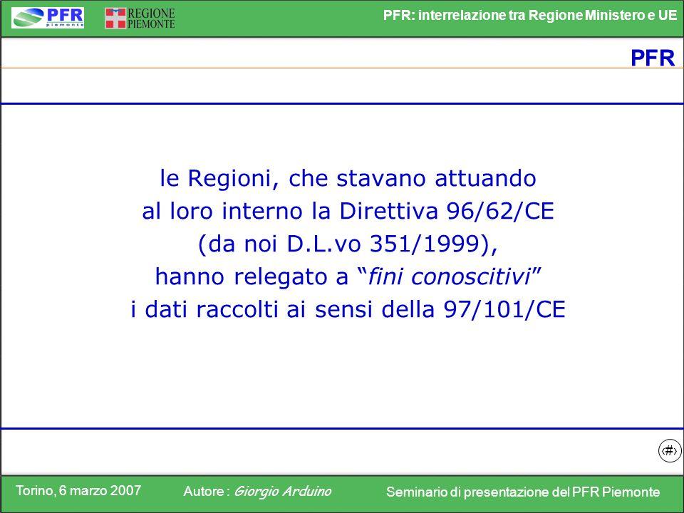 le Regioni, che stavano attuando al loro interno la Direttiva 96/62/CE