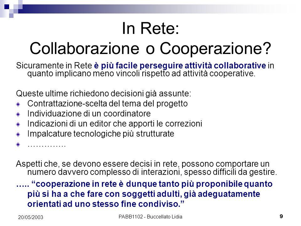 In Rete: Collaborazione o Cooperazione