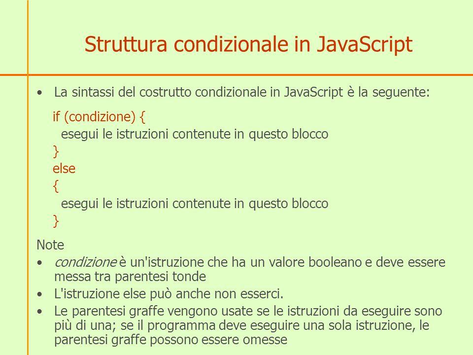 Struttura condizionale in JavaScript