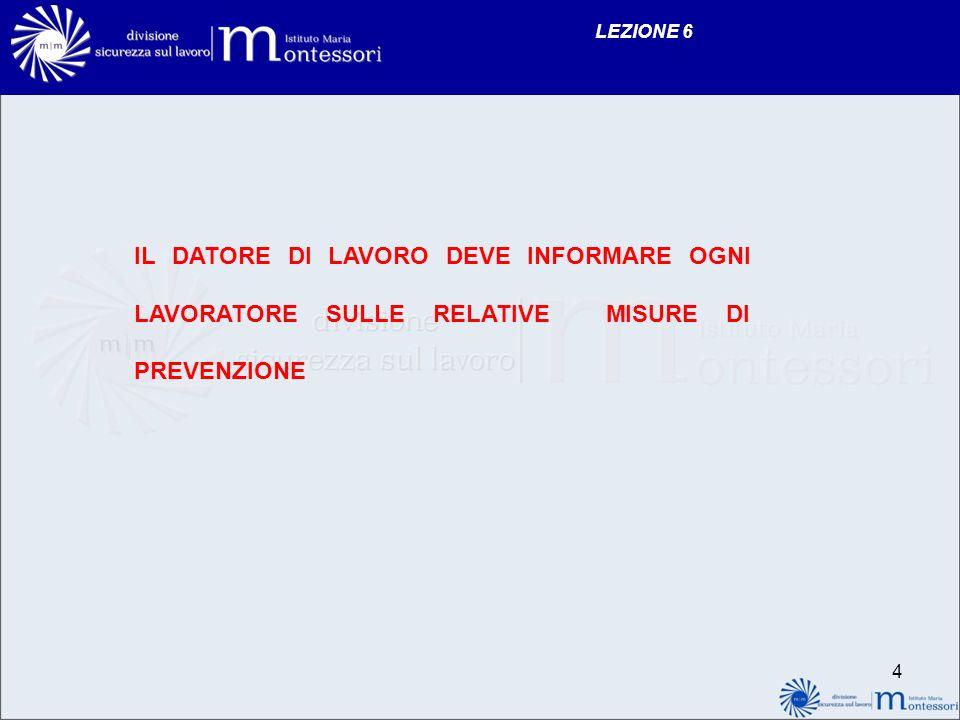 LEZIONE 6 IL DATORE DI LAVORO DEVE INFORMARE OGNI LAVORATORE SULLE RELATIVE MISURE DI PREVENZIONE