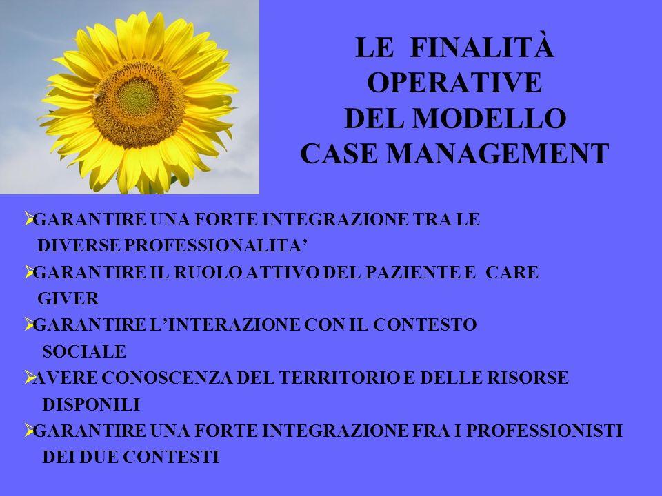 LE FINALITÀ OPERATIVE DEL MODELLO CASE MANAGEMENT