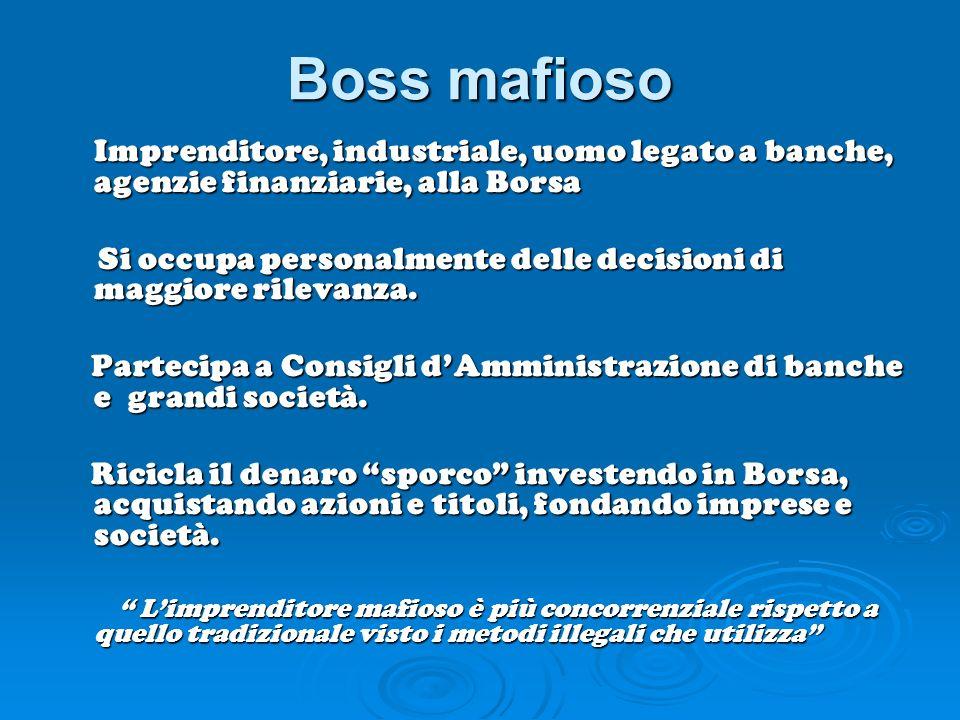 Boss mafioso Imprenditore, industriale, uomo legato a banche, agenzie finanziarie, alla Borsa.