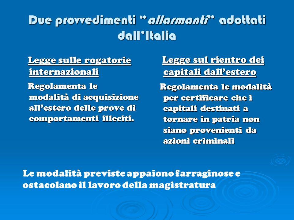 Due provvedimenti allarmanti adottati dall'Italia