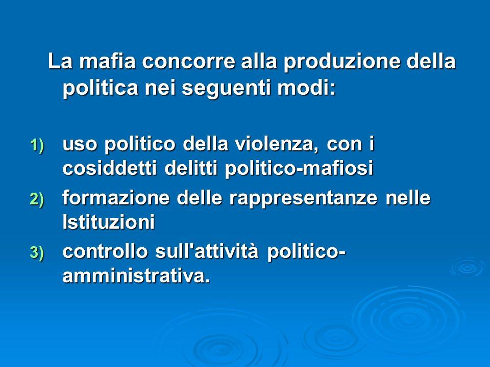 La mafia concorre alla produzione della politica nei seguenti modi: