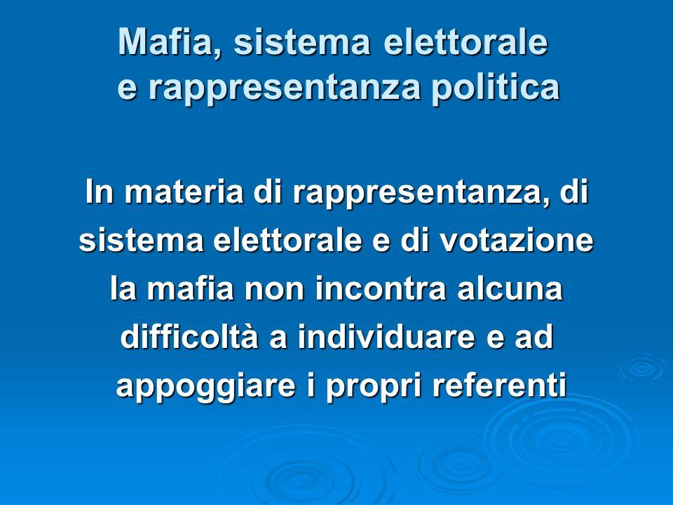 Mafia, sistema elettorale e rappresentanza politica