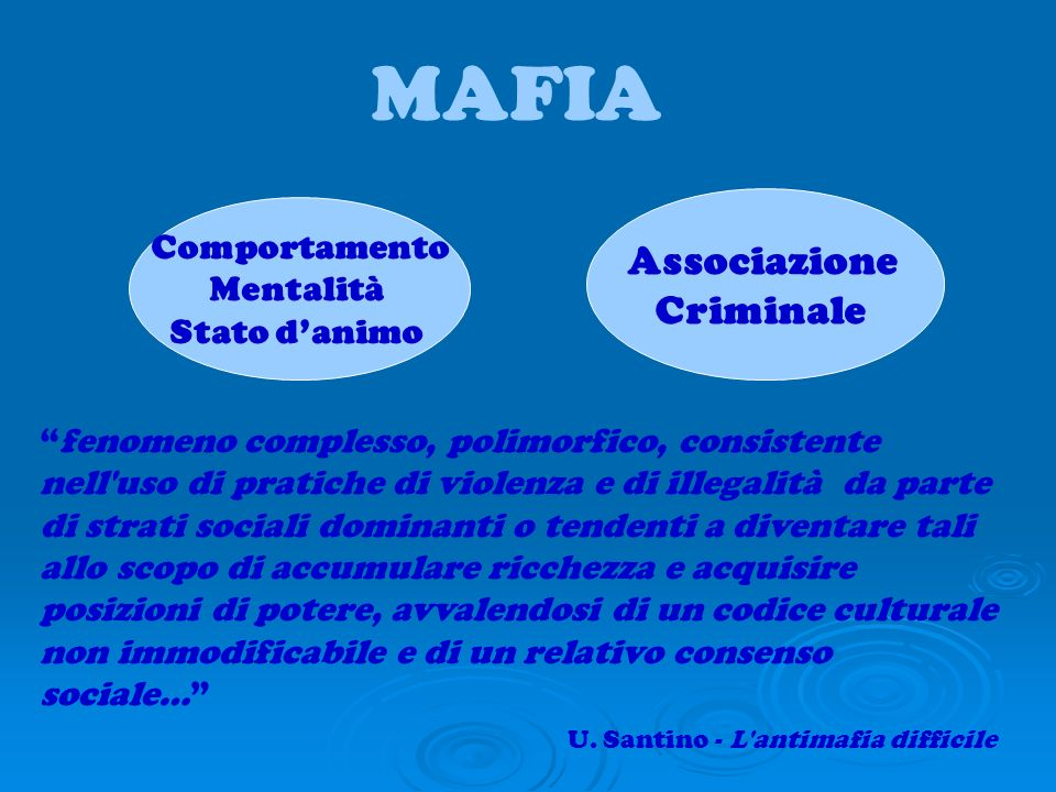 MAFIA Associazione Criminale Comportamento Mentalità Stato d'animo