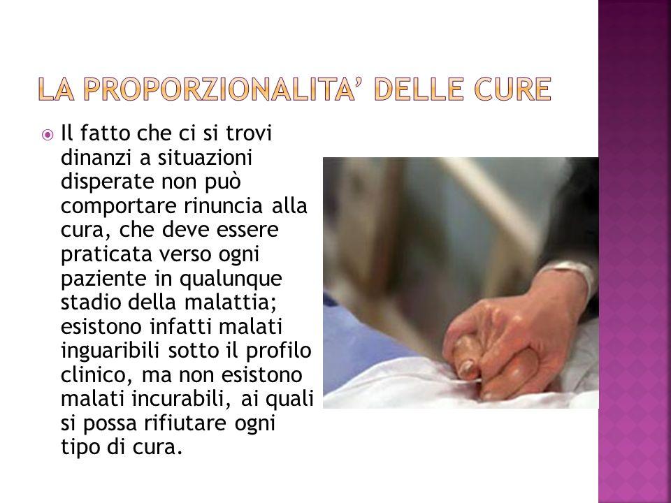 La proporzionalita' delle cure