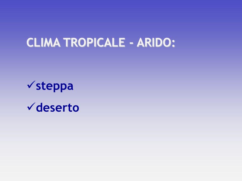 CLIMA TROPICALE - ARIDO: