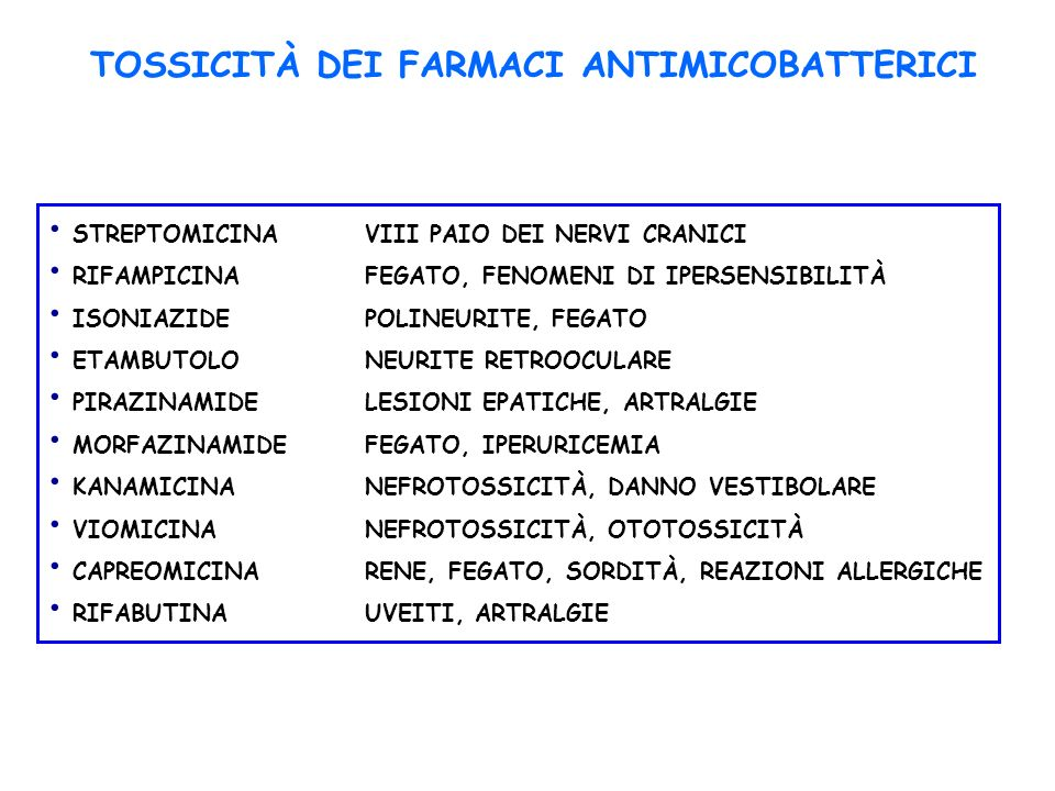 TOSSICITÀ DEI FARMACI ANTIMICOBATTERICI