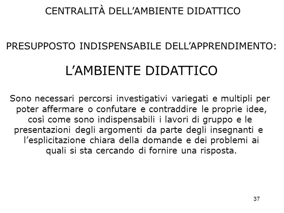 L'AMBIENTE DIDATTICO CENTRALITÀ DELL'AMBIENTE DIDATTICO