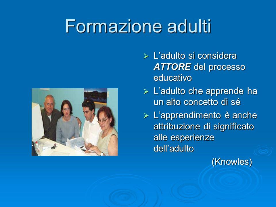 Formazione adulti L'adulto si considera ATTORE del processo educativo