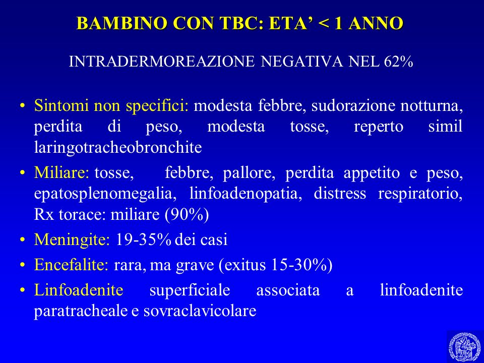 BAMBINO CON TBC: ETA' < 1 ANNO