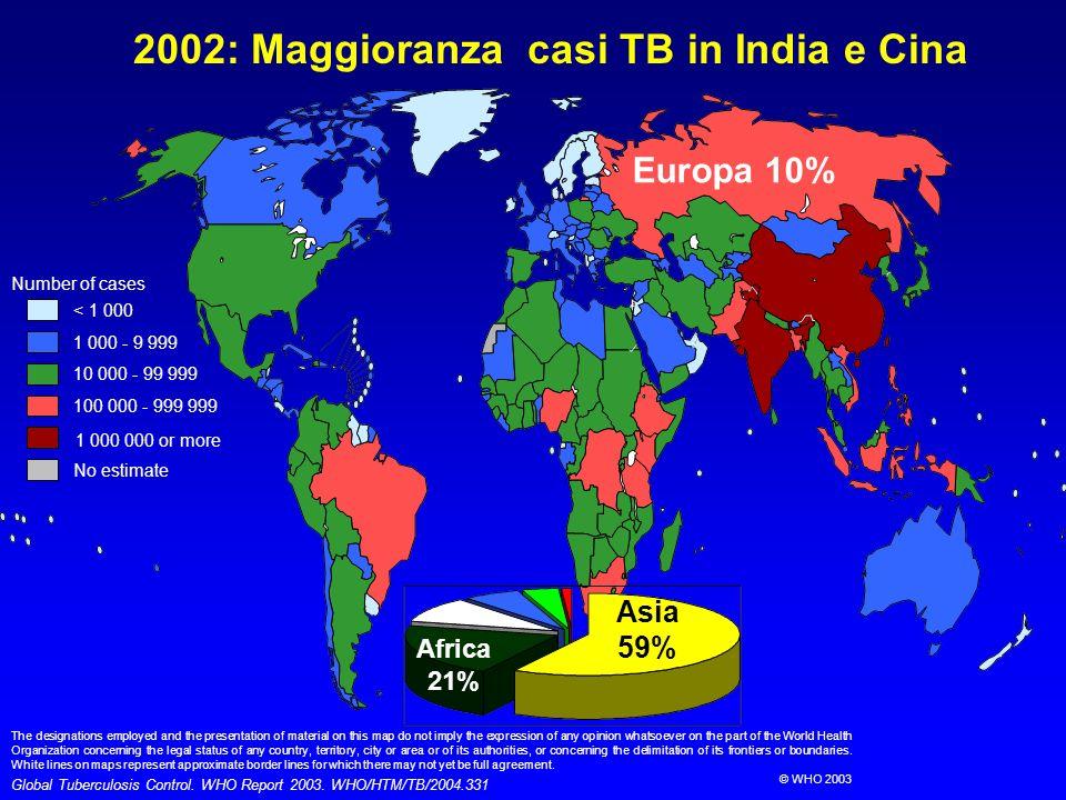 2002: Maggioranza casi TB in India e Cina