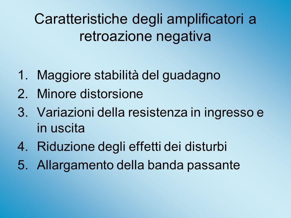 Caratteristiche degli amplificatori a retroazione negativa