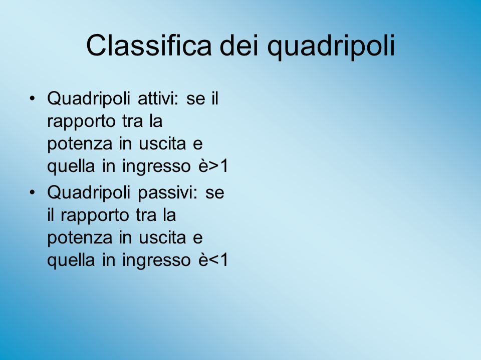 Classifica dei quadripoli