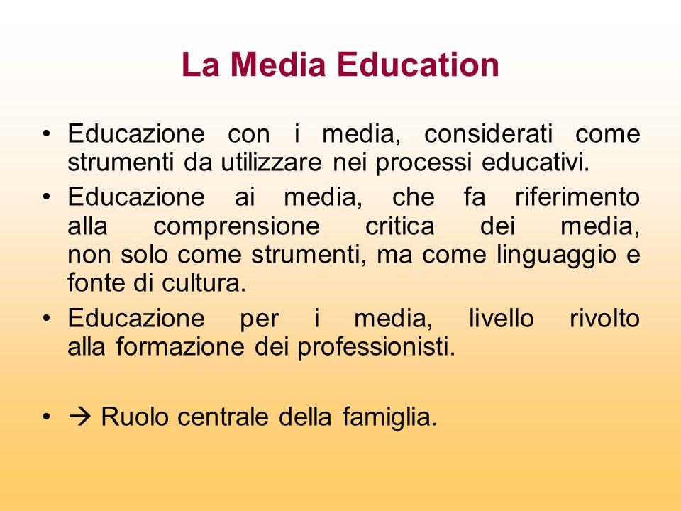 La Media Education Educazione con i media, considerati come strumenti da utilizzare nei processi educativi.