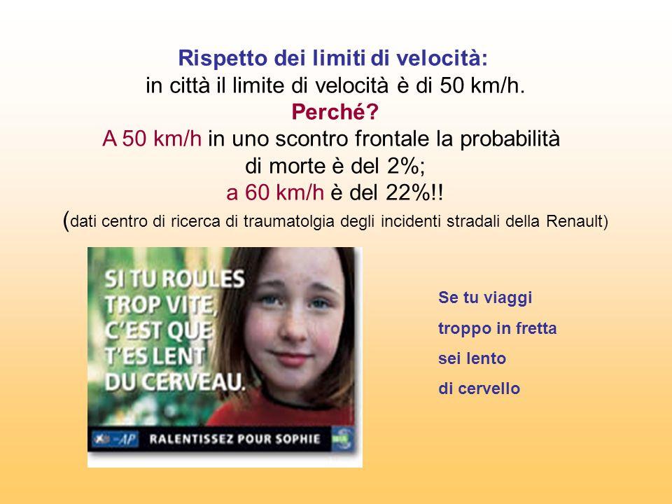Rispetto dei limiti di velocità: in città il limite di velocità è di 50 km/h. Perché A 50 km/h in uno scontro frontale la probabilità