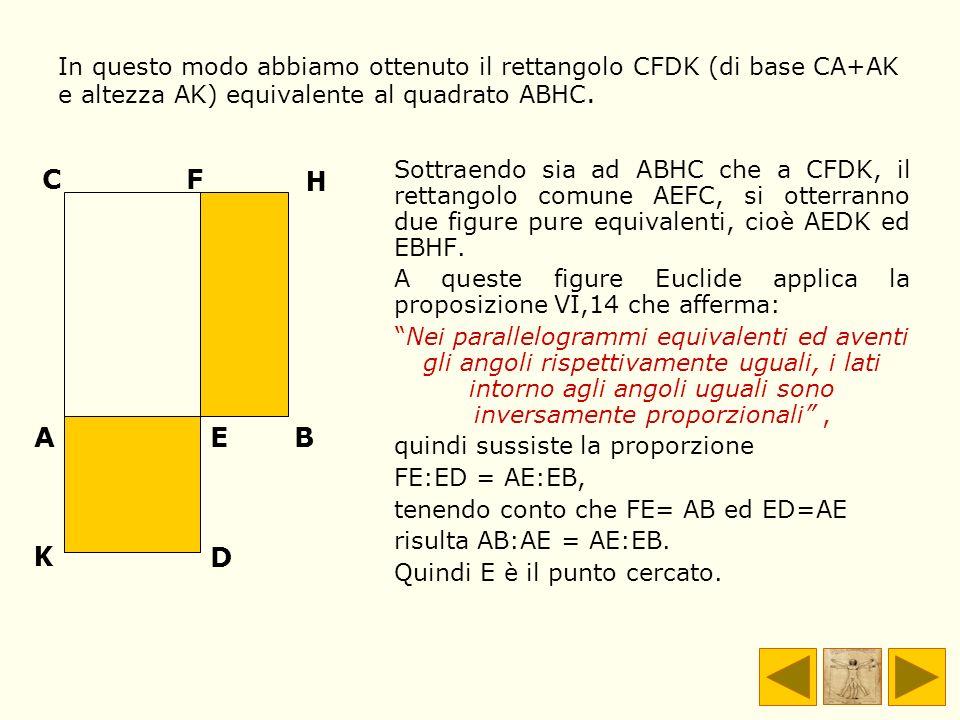 In questo modo abbiamo ottenuto il rettangolo CFDK (di base CA+AK e altezza AK) equivalente al quadrato ABHC.