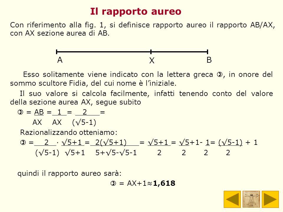 Il rapporto aureo Con riferimento alla fig. 1, si definisce rapporto aureo il rapporto AB/AX, con AX sezione aurea di AB.