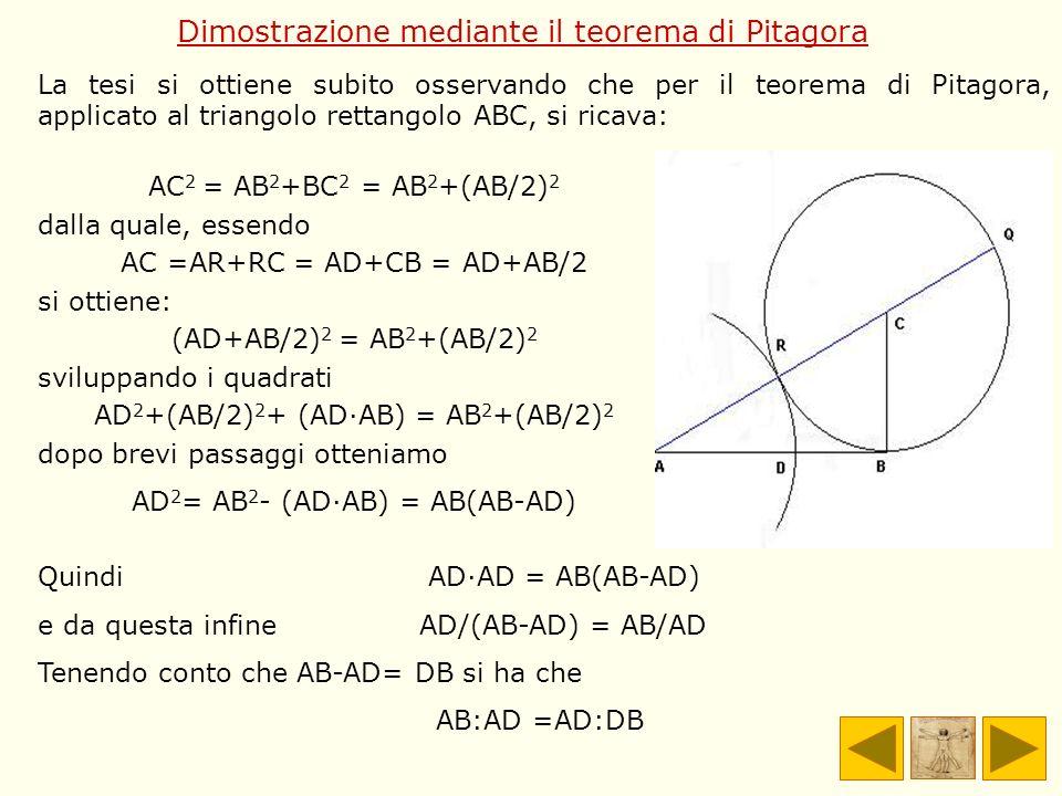 Dimostrazione mediante il teorema di Pitagora
