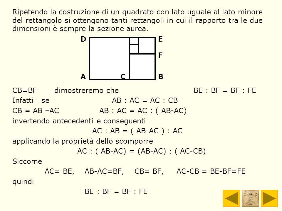Ripetendo la costruzione di un quadrato con lato uguale al lato minore del rettangolo si ottengono tanti rettangoli in cui il rapporto tra le due dimensioni è sempre la sezione aurea.