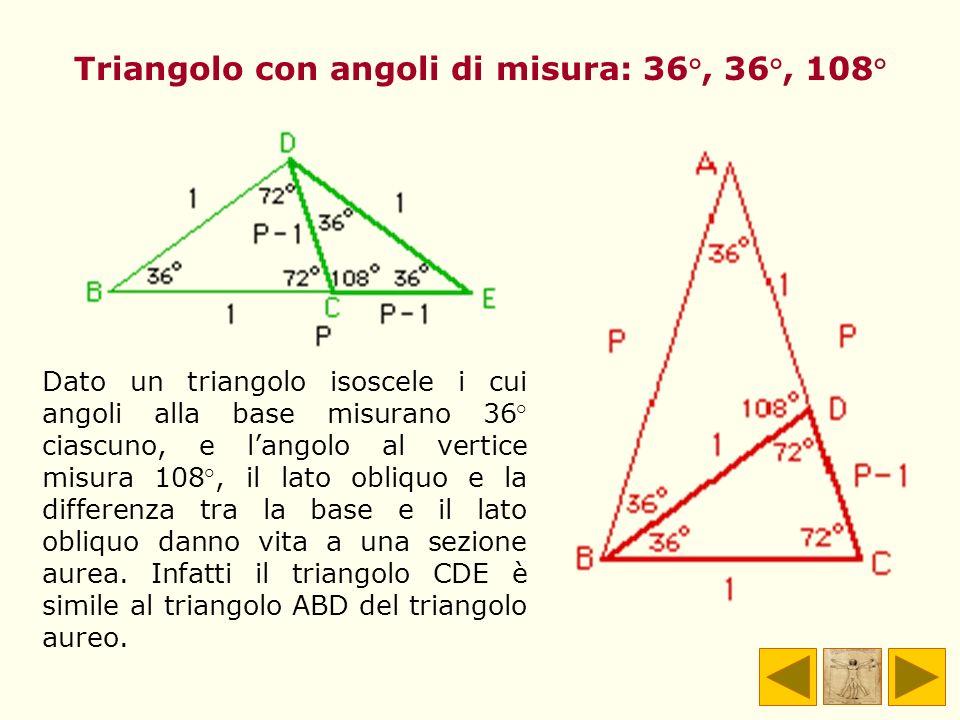 Triangolo con angoli di misura: 36°, 36°, 108°
