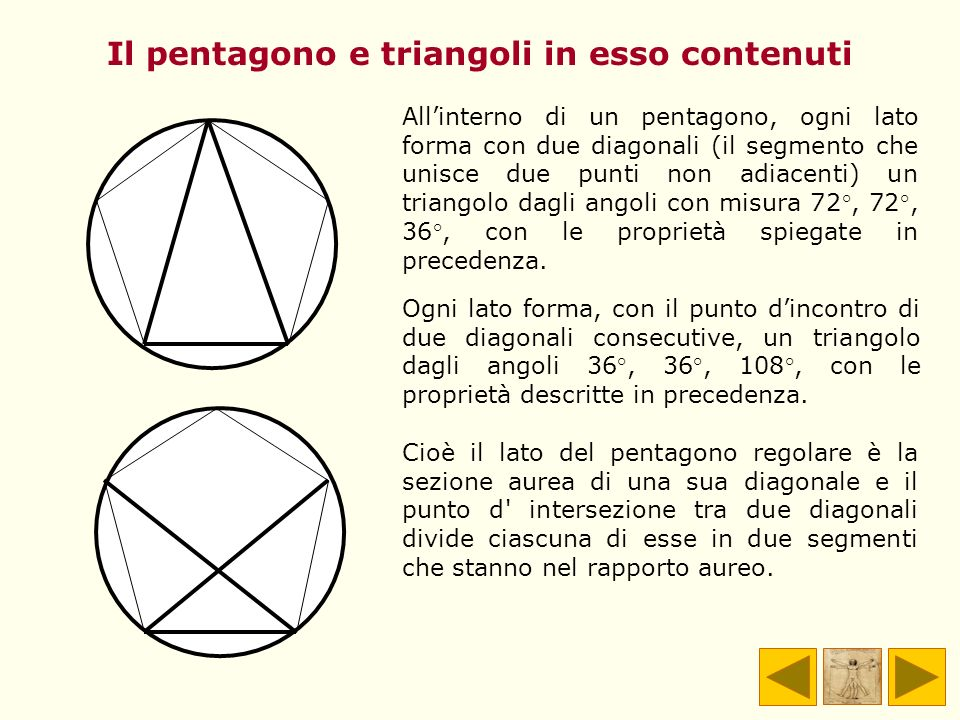 Il pentagono e triangoli in esso contenuti