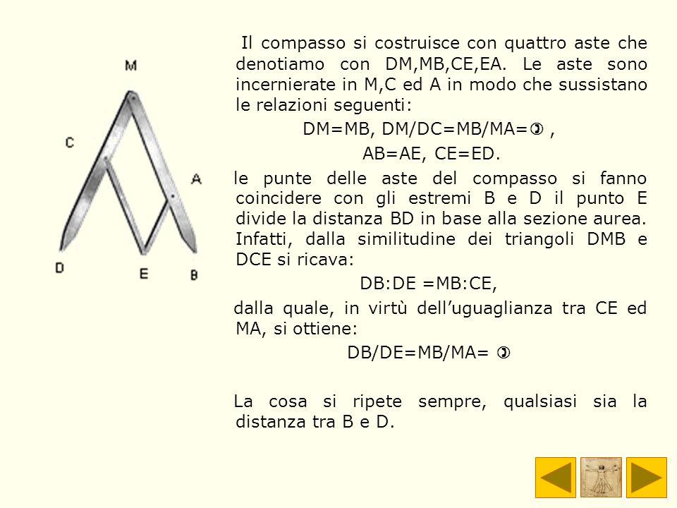 Il compasso si costruisce con quattro aste che denotiamo con DM,MB,CE,EA. Le aste sono incernierate in M,C ed A in modo che sussistano le relazioni seguenti: