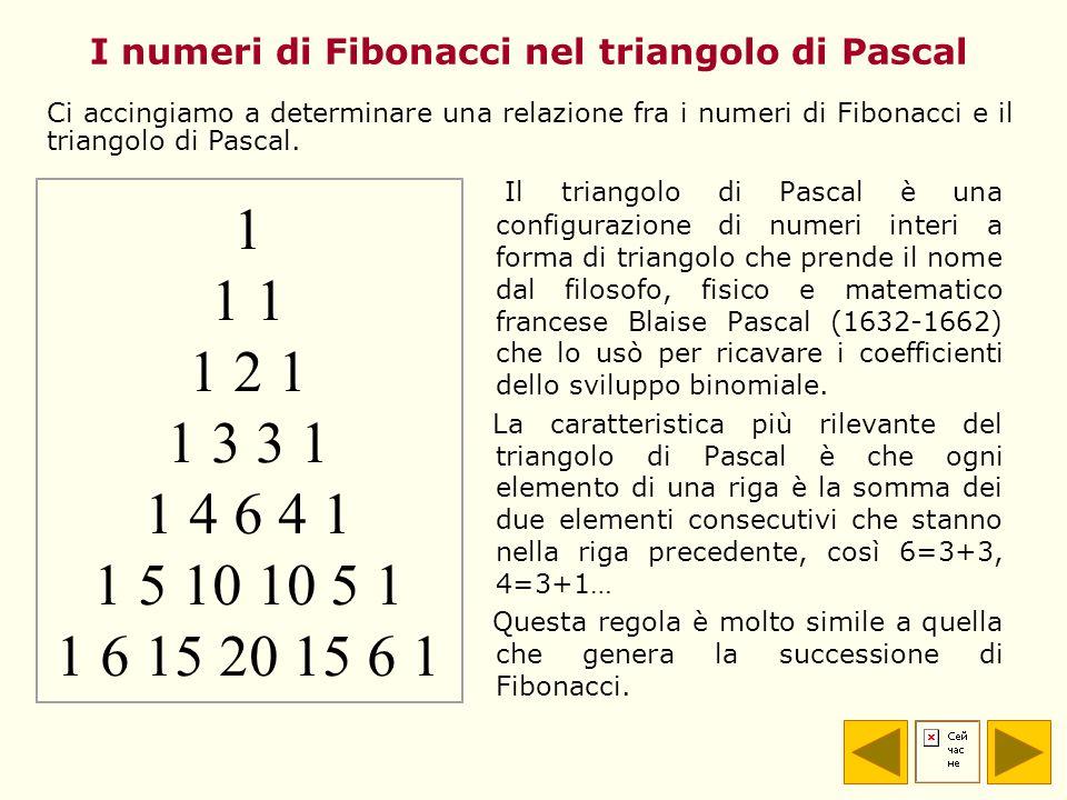 I numeri di Fibonacci nel triangolo di Pascal