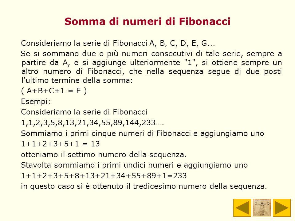 Somma di numeri di Fibonacci