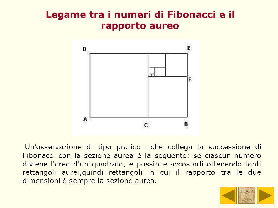 Legame tra i numeri di Fibonacci e il rapporto aureo