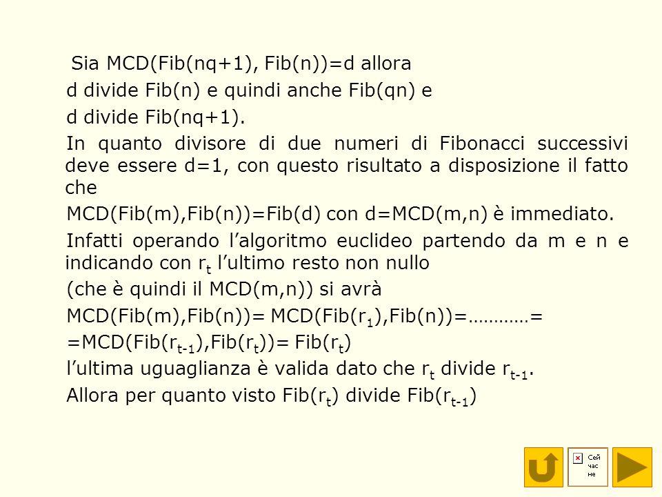Sia MCD(Fib(nq+1), Fib(n))=d allora