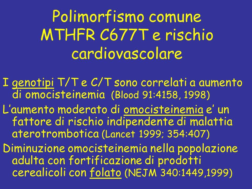 Polimorfismo comune MTHFR C677T e rischio cardiovascolare