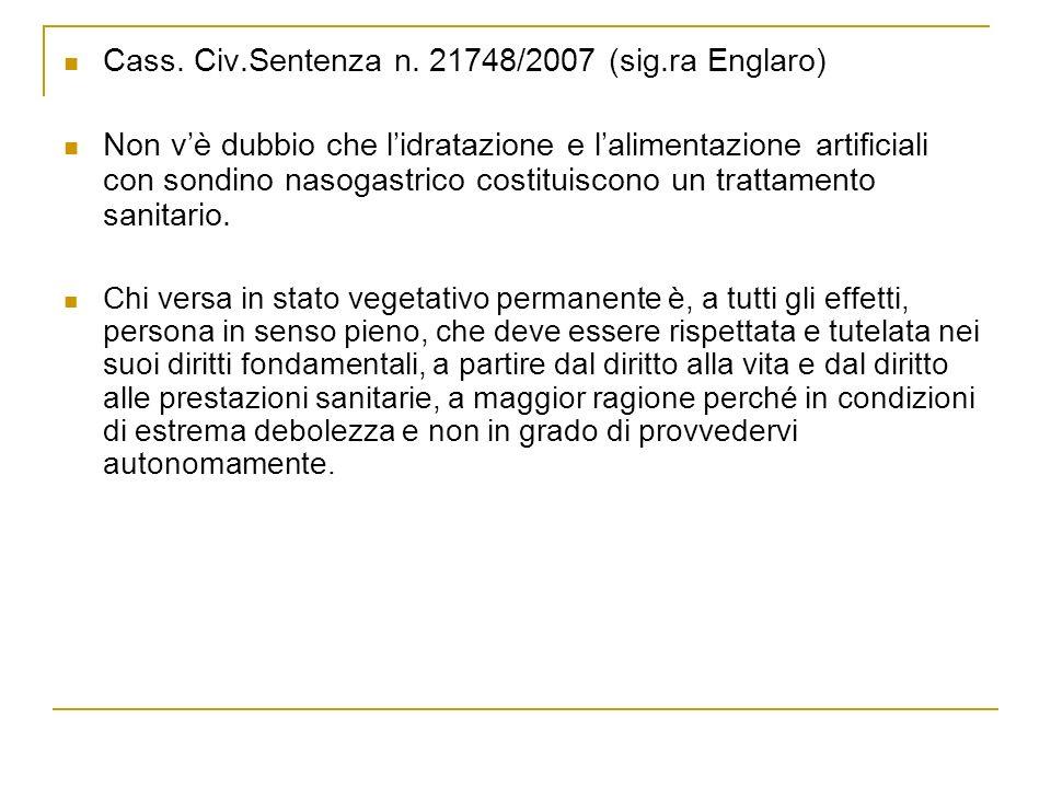 Cass. Civ.Sentenza n. 21748/2007 (sig.ra Englaro)