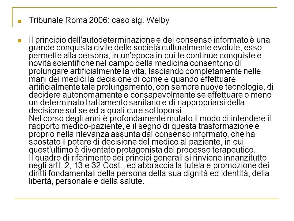 Tribunale Roma 2006: caso sig. Welby