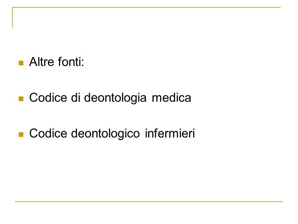 Altre fonti: Codice di deontologia medica Codice deontologico infermieri