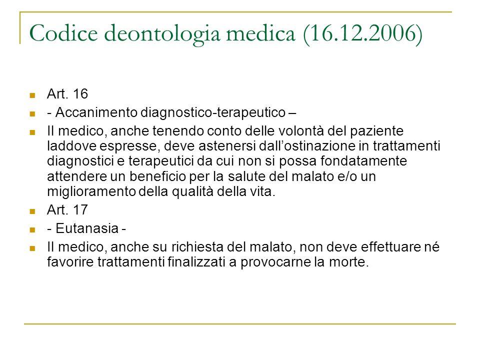 Codice deontologia medica (16.12.2006)