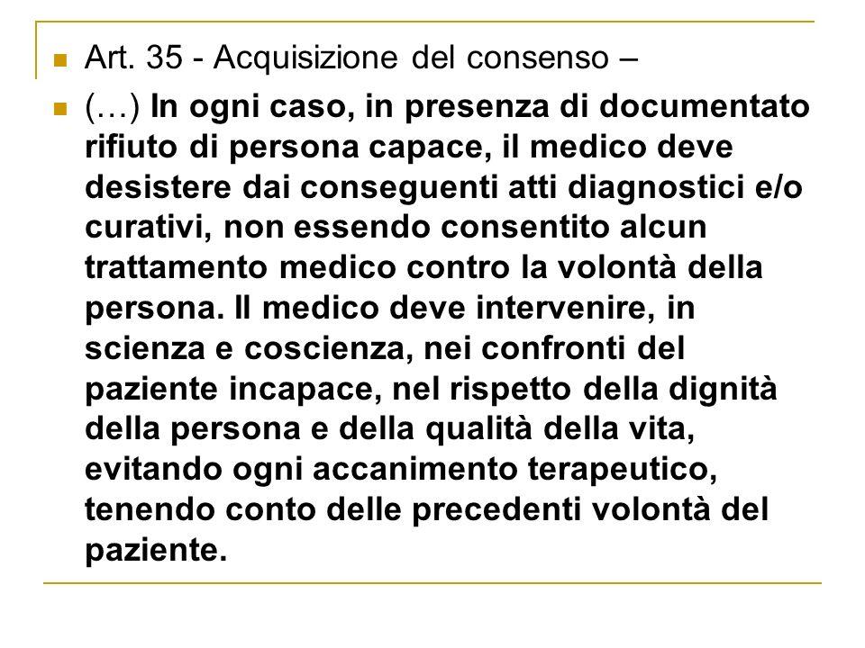 Art. 35 - Acquisizione del consenso –