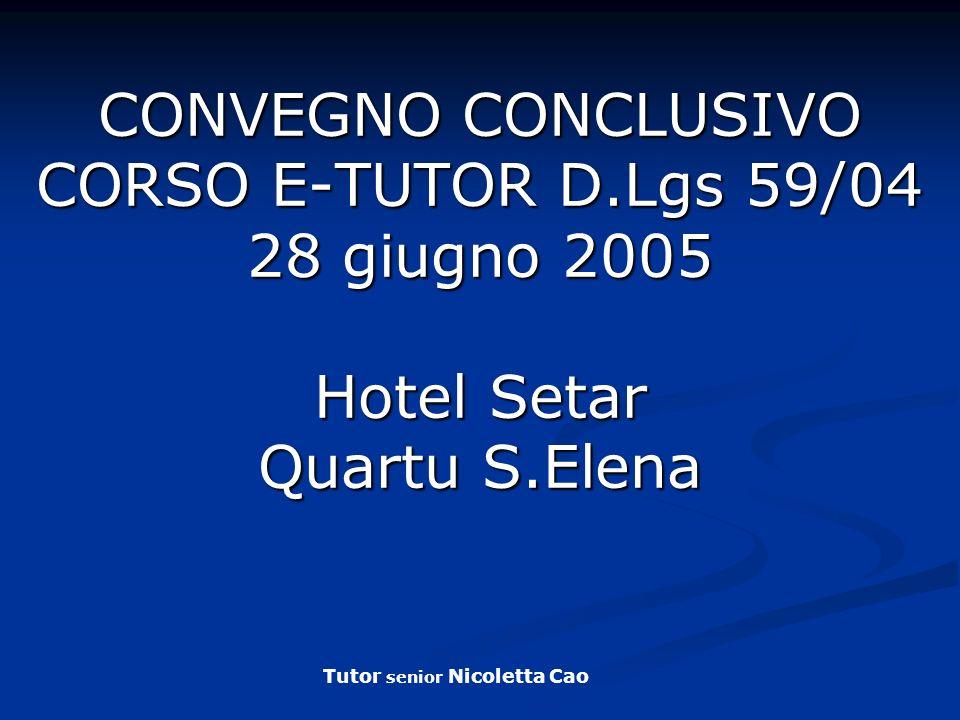 CONVEGNO CONCLUSIVO CORSO E-TUTOR D
