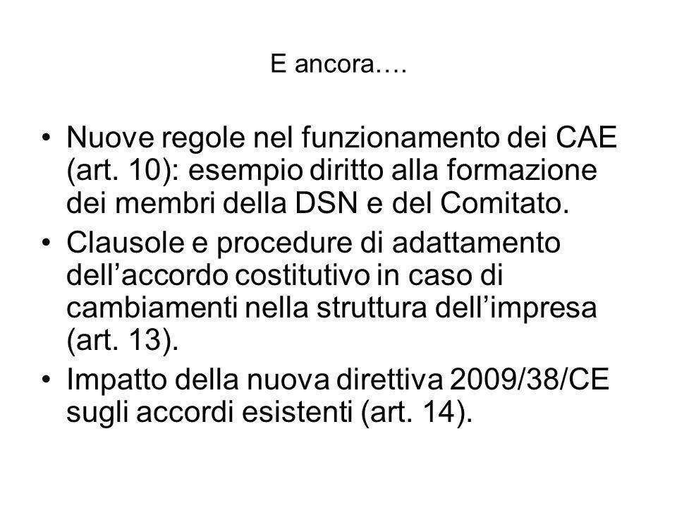 E ancora…. Nuove regole nel funzionamento dei CAE (art. 10): esempio diritto alla formazione dei membri della DSN e del Comitato.