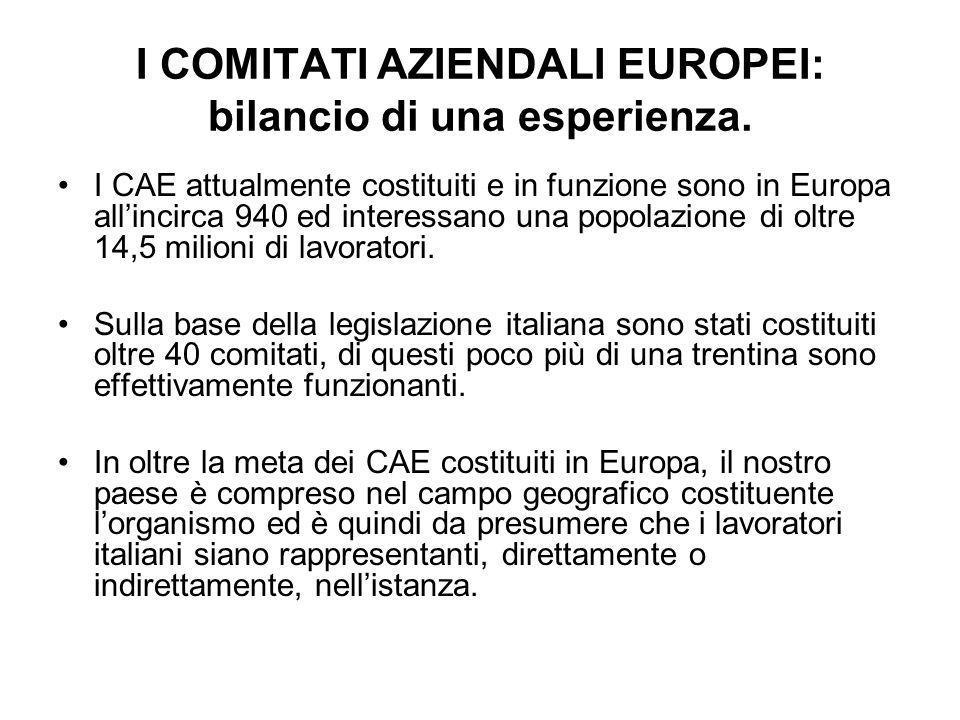 I COMITATI AZIENDALI EUROPEI: bilancio di una esperienza.