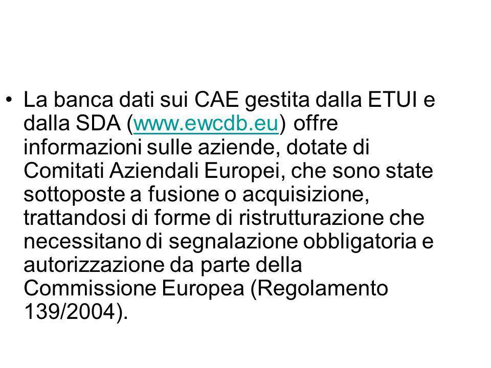 La banca dati sui CAE gestita dalla ETUI e dalla SDA (www. ewcdb