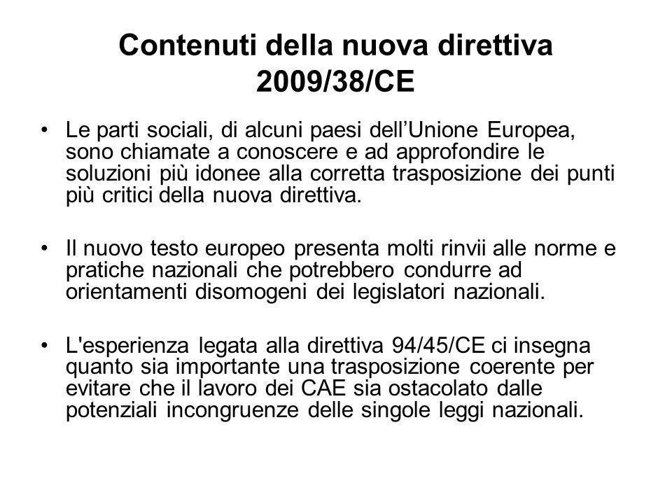 Contenuti della nuova direttiva 2009/38/CE