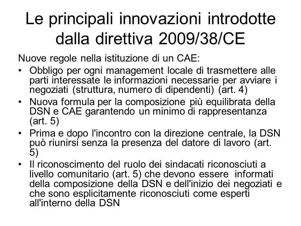 Le principali innovazioni introdotte dalla direttiva 2009/38/CE