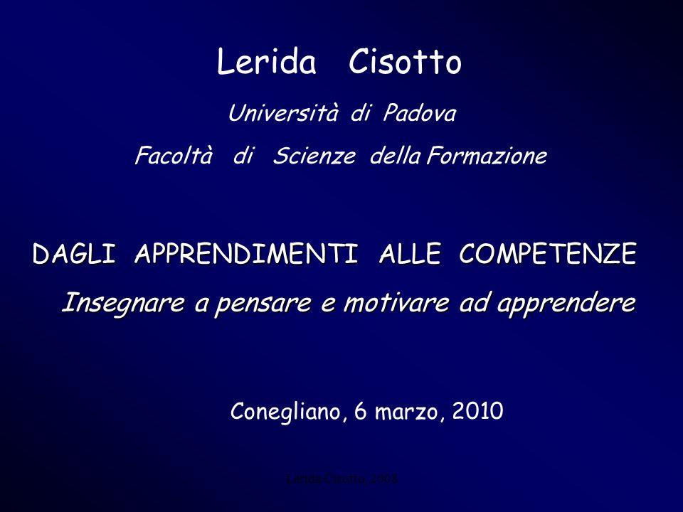 Lerida Cisotto DAGLI APPRENDIMENTI ALLE COMPETENZE