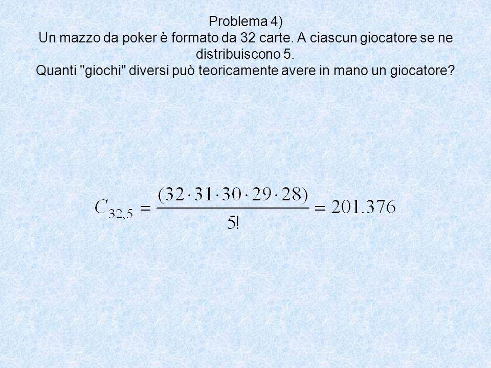 Problema 4) Un mazzo da poker è formato da 32 carte