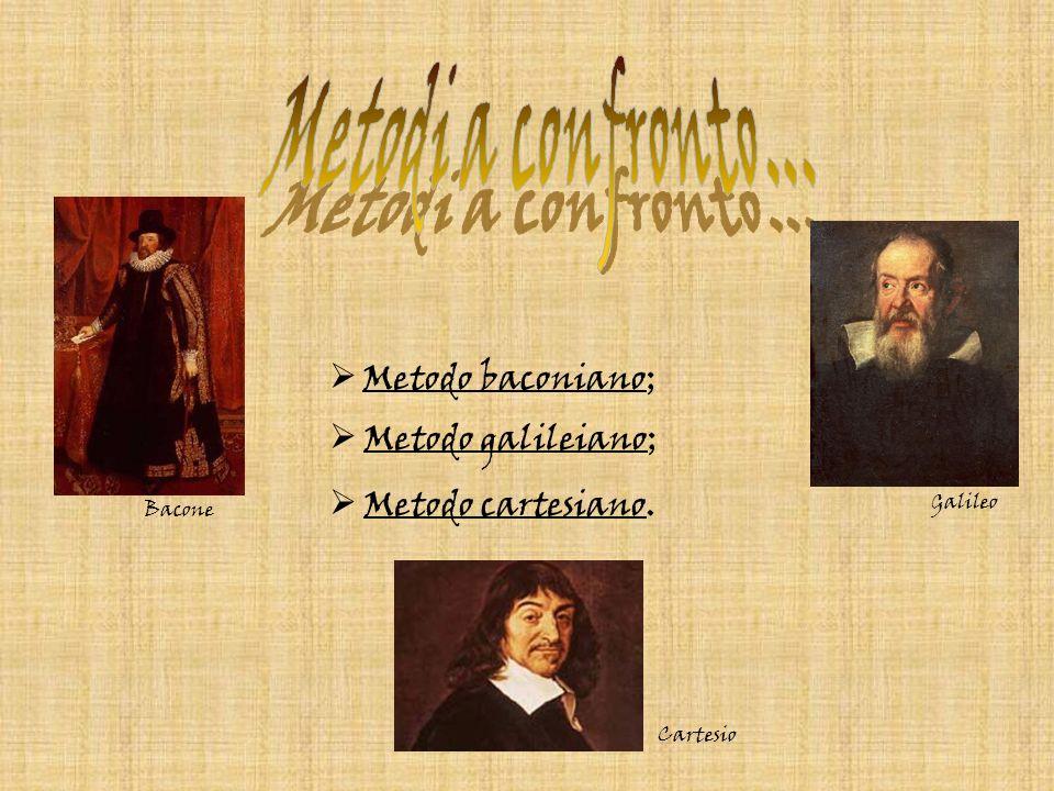 Metodi a confronto... Metodo baconiano; Metodo galileiano;