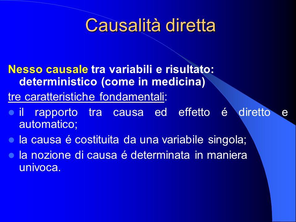 Causalità diretta Nesso causale tra variabili e risultato: deterministico (come in medicina) tre caratteristiche fondamentali: