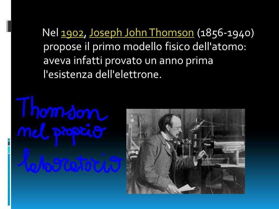 Nel 1902, Joseph John Thomson (1856-1940) propose il primo modello fisico dell atomo: aveva infatti provato un anno prima l esistenza dell elettrone.